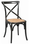 Cross Back Chair Black with Rattan Seat