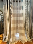 Beige & Ivory Stripe Sheer Curtain - 84""