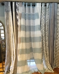 Blue & Ivory Stripe Sheer Curtain - 84""