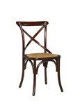 Cross Back Chair Brown with Rattan Seat
