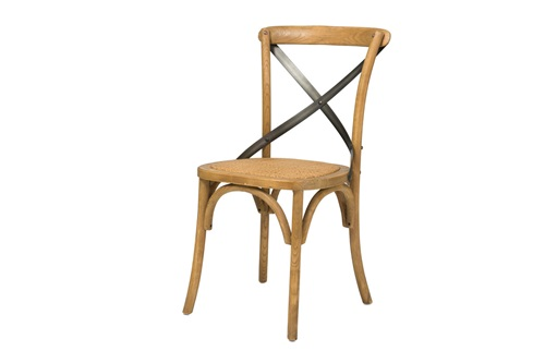 Cross Back Chair Natural with Rattan Seat