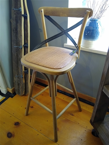 Cross Back Swivel Bar Stool - Floor Model