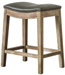 Demilune Counter Stool - Gray Top + Weathered Smoke Base