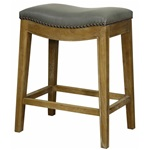Demilune Counter Stool - Gray Top + Brown Base