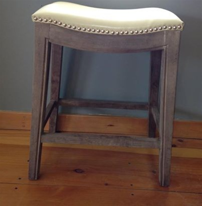 Demilune Counter Stool - Ivory Top + Gray Base