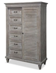 Distressed Gray Chest with Sliding Door