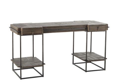 Gray Reclaimed Wood and Metal Desk