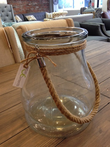 "10"" Glass Jar with Rope Handle"