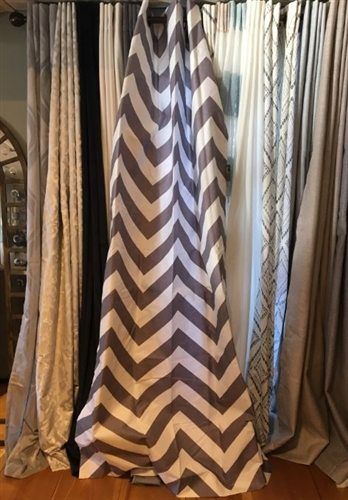 Gray Chevron Curtain - 84""