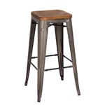 Gun Metal+Wood Bar Stool