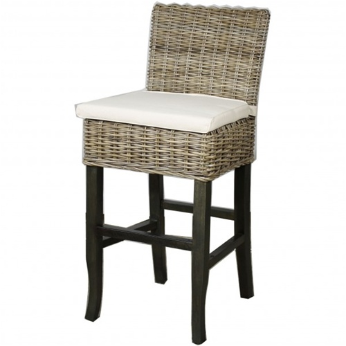 Kubu Gray Rattan Counter Stool
