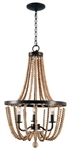 Light Wood Bead Chandelier