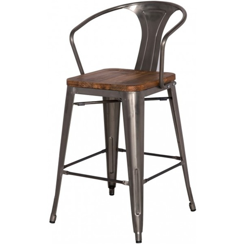 Gun Metal Wood Counter Stool High Back