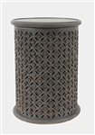 Mango Drum Side Table - Gray