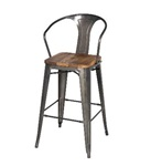 Gun Metal + Wood Bar Stool - High Back