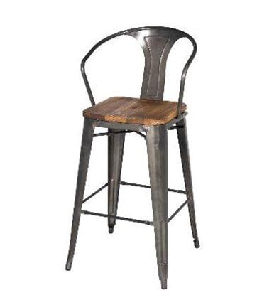Magnificent Gun Metal Wood Bar Stool High Back Pabps2019 Chair Design Images Pabps2019Com