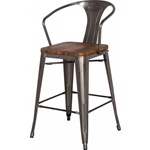 Gun Metal + Wood Counter Stool - High Back