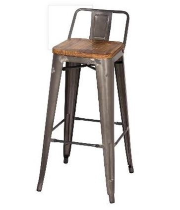 Gun Metal + Wood Bar Stool - Low Back
