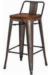 Gun Metal + Wood Counter Stool - Low Back