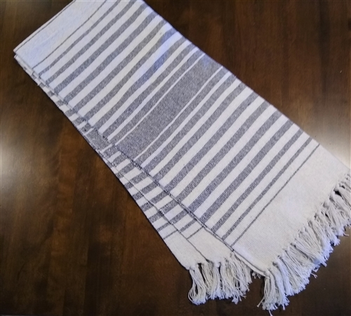 Navy Blue Striped Throw