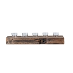 Reclaimed Wood Holder with Glass Votives
