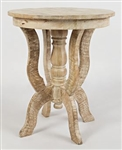 Round Carved Accent Table