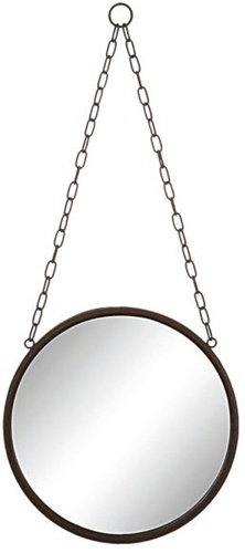 "10"" Round Framed Mirror on Chain"