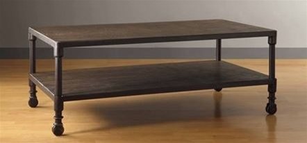 Rustic Wood Metal Coffee Table W Rolling Casters
