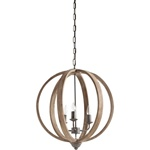 "22"" Wooden Orb Chandelier"