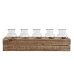 "17"" Wooden Crate with 5 Glass Bottles"